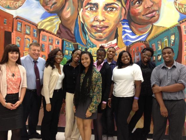 Members of the Youth Justice Board pose with Judge Alex Calabrese on a visit to the Red Hook Community Justice Center. (January 9, 2013)