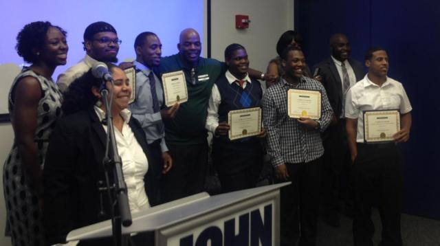 Members of the third cohort of the Harlem Justice Corps graduate at a ceremony held at John Jay College of Criminal Justice. The Justice Corps is an intensive career development and service program for justice-involved young men and women, ages 18-24, who are seeking employment, education services, and meaningful opportunities to serve their community. (October 10, 2013)