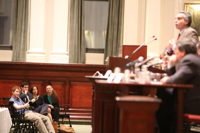 The New York City Bar hosts an event honoring the late Alfred Siegel and his legacy of advancing youth justice reform. Here, members of his family listen to the panel of speakers. (October 10, 2014)