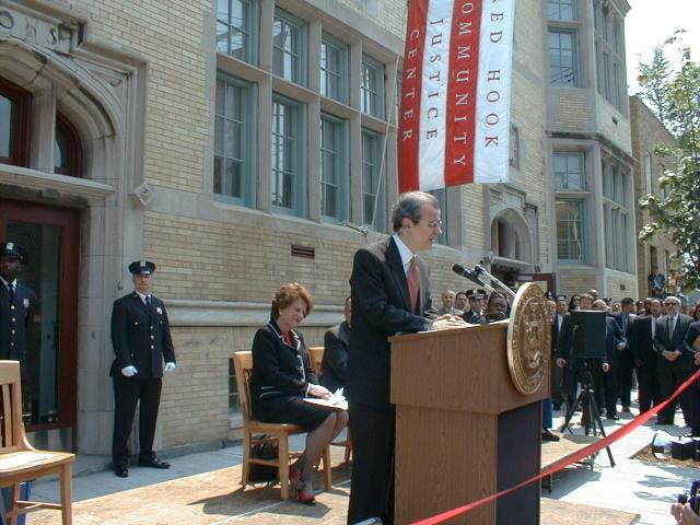 From the archives: New York State Chief Judge Jonathan Lippman addresses the crowd at the opening of the Red Hook Community Justice Center in 2000. This year, the National Center for State Courts completed an evaluation of the Justice Center that shows it decreases recidivism, cuts down on the use of incarceration, and helps save millions of dollars each year. (November 13, 2013)