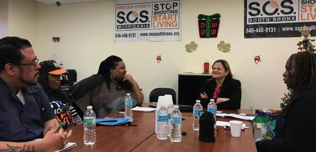 New York City Council Speaker Melissa Mark-Viverito visited Save Our Streets in the South Bronx. The sit-down in the S.O.S. office gave staff a chance to talk about their efforts to reduce gun violence and change community norms. 'We shared stories and expressed why we are so passionate about the work we do,' says Ife Charles, the Center for Court Innovation's coordinator of violence prevention programs, pictured at right.