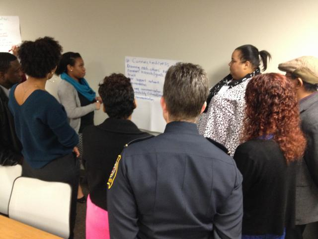 At the kick-off summit for Minority Youth Violence Prevention initiative, co-sponsored by the U.S. Office of Minority Health and the COPS Office, police, public health, and social service grantees brainstorm tactics for connecting with overlooked young people. (February, 12, 2015)