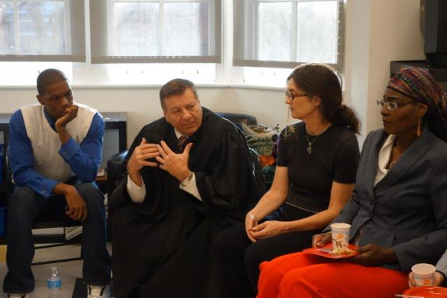 Red Hook Community Justice Center Judge Alex Calabrese speaks to the Red Hook Peacemaking Program. (February 20, 2014)