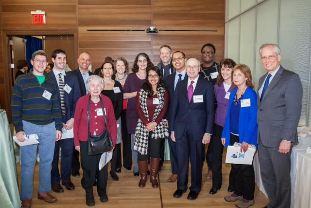 Siegel Scholars pose with members of the Siegel family and Center for Court Innovation staff at John Jay College of Criminal Justice's Champions of Justice reception. (February 26, 2015)