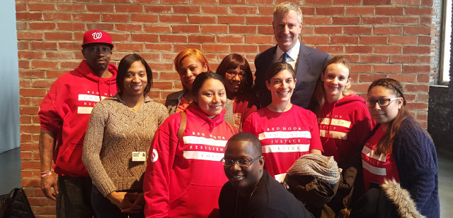 Mayor Bill de Blasio meets with members of the Red Hook Community Resilience Corps and the Red Hook Community Justice Center, thanking them for their efforts to make the neighborhood a safer and more resilient place. (February 16, 2016)