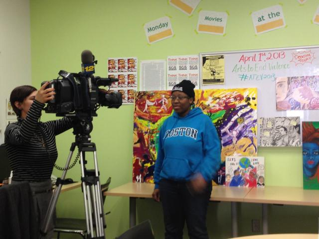 At Crown Heights Community Mediation Center, Brooklyn's News 12 interviews a youth organizer about the annual Arts To End Violence competition. (April 4, 2013)