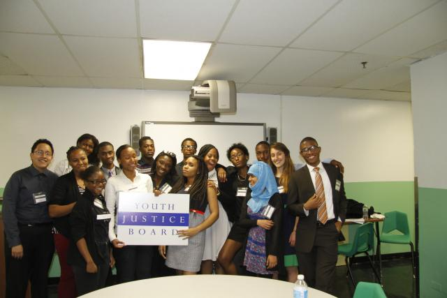 The  Youth Justice Board, after presenting their new website for disconnected youth to a crowd at the Midtown Referral Center. The website will help disconnected youth between the ages of 16 and 24 decide the best course of action to take to re-engage with school, a high-school equivalency degree, or employment. (June 18, 2014)