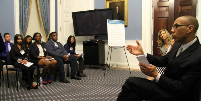 Schools Chancellor Dennis M. Walcott asks members of the Youth Justice Board a question after they present their report on truancy and chronic absenteeism. (June 25, 2013)