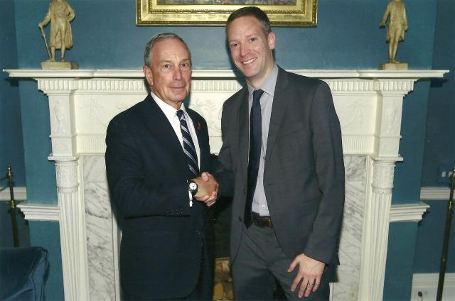 At the New York City Innovative Nonprofit Awards, Center Director Greg Berman shakes hands with New York City Mayor Michael Bloomberg. The Center was among ten nonprofits honored for using data to fight poverty in innovative ways. (June 6, 2013)