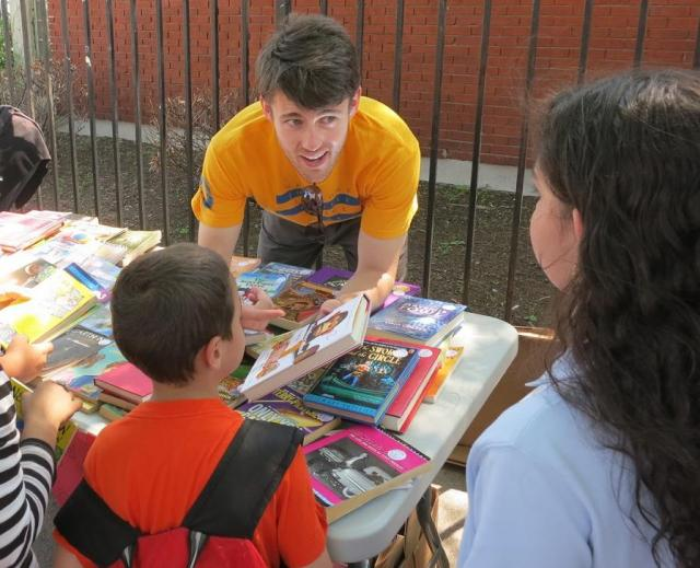 The New York Juvenile Justice Corps hosts their 3rd Annual Kids Book Fair at the Red Hook branch of the Brooklyn Public Library. (July 10, 2013)