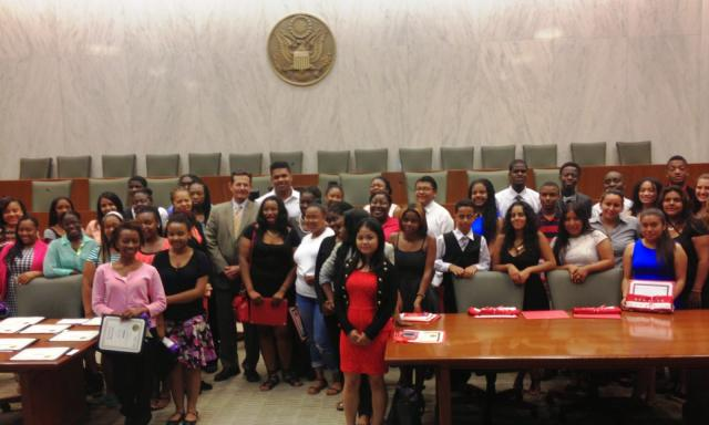 Red Hook Youth Court and Brownsville Youth Court celebrate their youth court graduation and the induction of new members at the United States District Court in Brooklyn. (July 2, 2014)