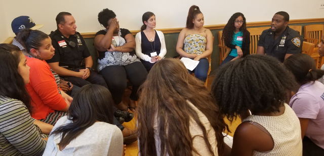 "The Red Hook Community Justice Center hosted ""Bridging the Gap,"" a conversation circle between local police, youth, community members, peacemakers, and Center staff. The event sought to create a safe space for interaction, allowing them to explore their relationships with each other with the intention of improving communication and building trust."