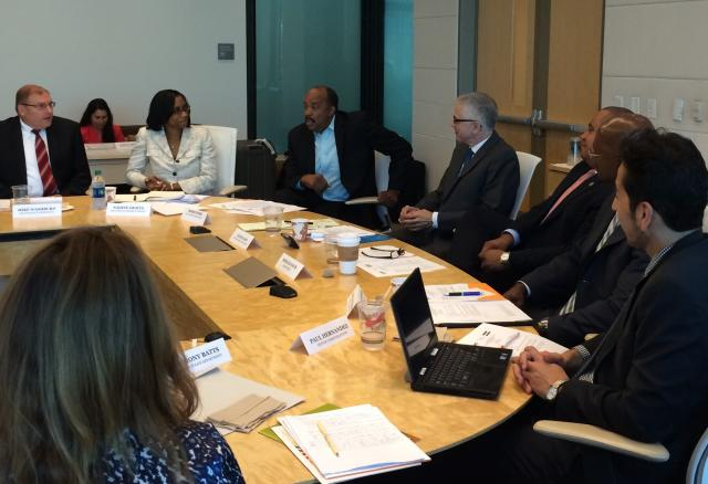 At a roundtable discussion on public health approaches to crime prevention in Los Angeles, President of The California Endowment Robert Ross (third from left) addresses a group of police chiefs, public health experts, and funders from across the country, including ​Dr. Nadine Gracia (second from left), deputy assistant secretary for minority health​ at the US Department of Health and Human Services, and Ron Davis (third from right), director of the US Department of Justice's COPS Office. (August 6, 2014)
