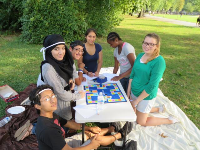 Members of the Staten Island Youth Justice Center's youth court celebrate the end of summer in Clove Lakes Park. (September 4, 2013)