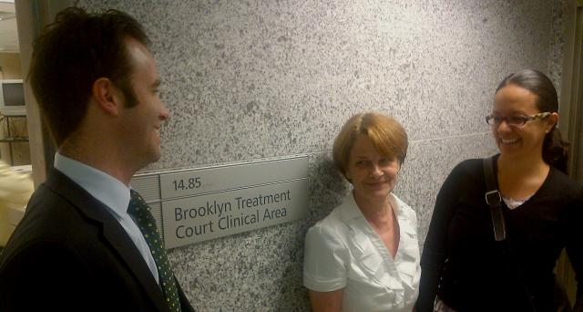 Valerie Raine (center), director of Drug Court Programs at the Center for Court Innovation, hosts a delegation from the Drug Demand Reduction Program at the U.S. Department of State, Mexico City at the Brooklyn Treatment Court: Jeffrey Zinsmeister, coordinator (left) and Nohemí Lira, program specialist (right). (August 1, 2012)
