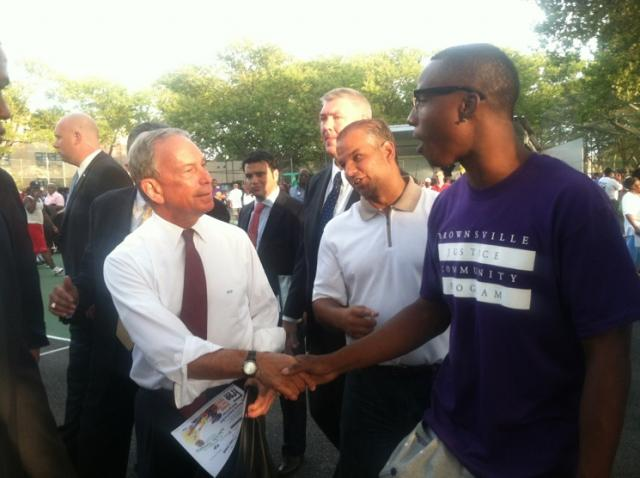 Mayor Michael Bloomberg visits Brownsville Community Justice Center during National Night Out Against Crime 2012. (August 15, 2012)