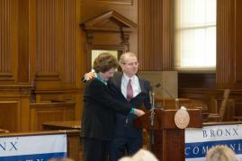 Former Chief Judges Judith Kaye and Jonathan Lippman at the inauguration of Bronx Community Solutions.