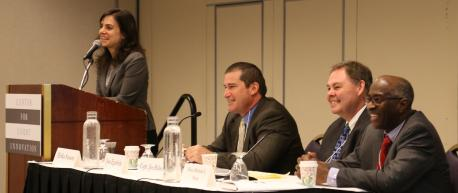 A panel on Restorative Justice at Community Justice 2016 features, from left, moderator Erika Sasson of         the Center for Court Innovation, Jose Egurbide of the Los Angeles City Attorney's Office, Captain Joe Balles         (retired) of the Madison (Wisconsin) Police Department, and Judge Herman Sloan of the Atlanta (Georgia) Community         Court.