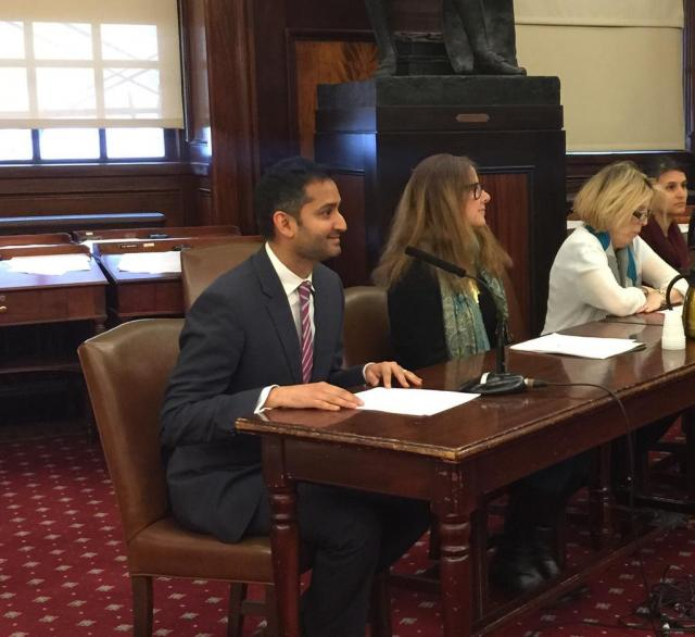 Dipal Shah, director of the Midtown Community Court, testifies in front of the New York City Council Committee on Economic Development. (April 1, 2015)