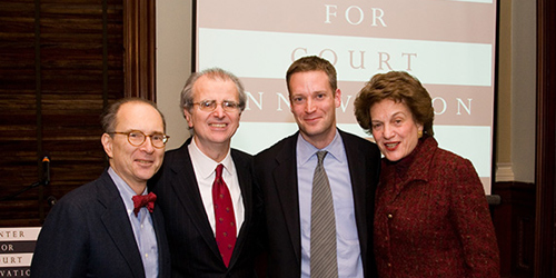 President of the New York City Bar Association Barry Kamins, New York State Chief Judge Jonathan Lippman, Center for Court Innovation Director Greg Berman and Chief Judge Judith S. Kaye (Ret.) at the 10th anniversary celebration of the Center for Court Innovation.