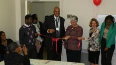 Ann Jacobs, Director of the Prisoner Reentry Institute at CUNY/John Jay College Cuts the Ribbon