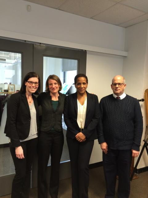 Commissioner Rosemond Pierre-Louis of the Mayor's Office to Combat Domestic Violence and her staff with Liberty Aldrich, director of Domestic Violence and Family Court Programs at the Center for Court Innovation. Commissioner Pierre-Louis visited the Center to review the office's work in 2014 and its plans for 2015. From left:  Elizabeth Dank, general counsel; Liberty Aldrich; Commissioner Pierre-Louis;  Ed Hill, Executive Director of Outreach and Strategic Coordination (March 25, 2015)