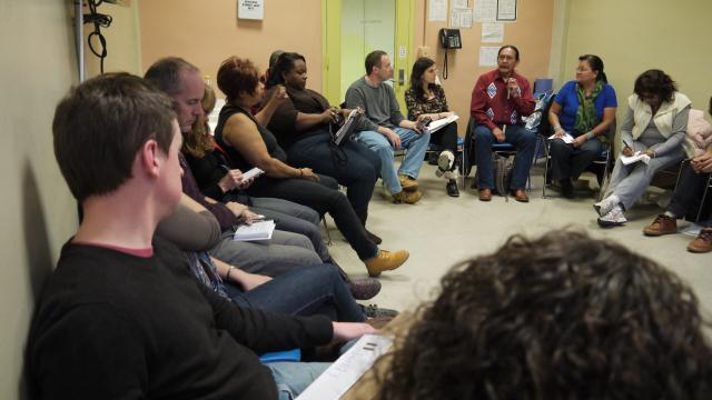 Navajo peacemakers train volunteers for the Peacemaking Program in Red Hook, Brooklyn. The new initiative will apply peacemaking to cases referred by the Red Hook Community Justice Center. (December 5, 2012)