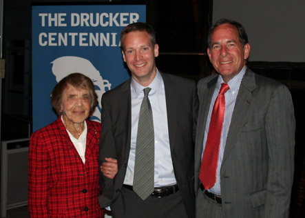Center for Court Innovation director Greg Berman at Drucker Award ceremony with Doris Drucker and Ira Jackson, Dean of the Drucker-Ito Graduate School of Management