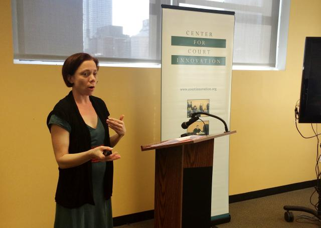 Center for Court Innovation researcher Sarah Fritsche presents to visitors on risk-need-responsivity theory, currently a major focus of the Center's work. (April 15, 2015)