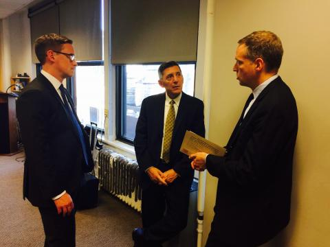 Office of National Drug Control Policy Director Michael P. Botticelli speaks with Center for Court Innovation Director Greg Berman and Director of Drug Court Programs Aaron Arnold during a visit to the Center's headquarters. (September 21, 2015)