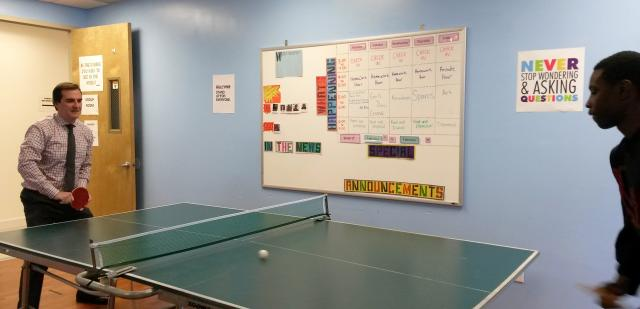 New York State Senator  Michael Gianaris recently dropped by our  Queens Youth Justice Center. Along with several rounds of ping-pong, Senator Gianaris also spoke with some of the young people enrolled in the Alternative-to-Detention program and was an enthusiastic participant in a session of the Neighborhood Youth Justice Council. The Council is a forum for young people to address neighborhood challenges in collaboration with partners from justice and law enforcement.