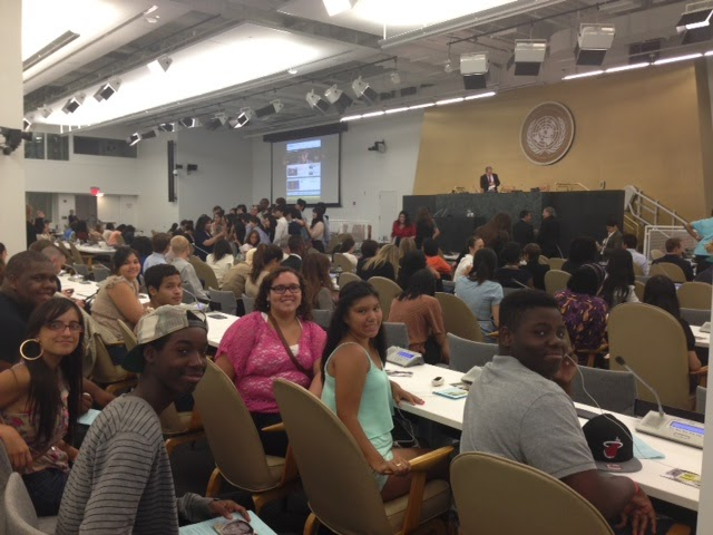 Members of the Greenpoint Youth Court participate in a Global Interactive Dialogue at the United Nations in celebration of International Youth Day. The dialogue engaged with approximately 700 other youths from countries including Belgium, Brazil, India, Lebanon, and Nigeria. (August 21, 2013)