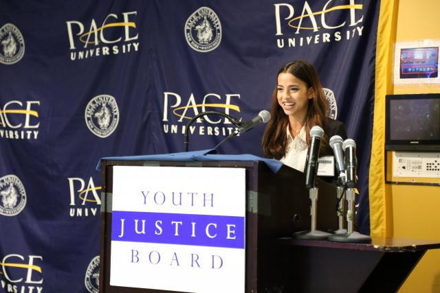 "Naushin, a member of the 2014-15 Youth Justice Board, presents a policy recommendation from ""Stepping Up: Strengthening Police, Youth, and Community Relations"" at Pace University."