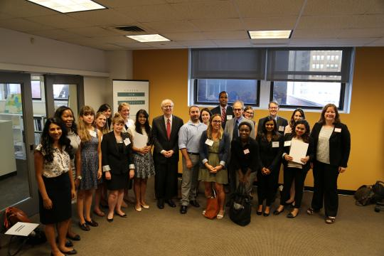 New York State Chief Judge Jonathan Lippman joins the inaugural class of Poverty Justice Solutions fellows at the launch of Poverty Justice Solutions. The 19 fellows will spend the next two years working at local civil legal service providers representing low-income New Yorkers in Housing Court.