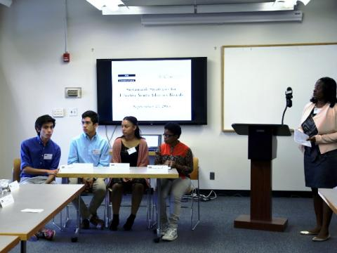 (From left) Levi, Alex, Stephanie, and Bernadette, alumni of the Center for Court Innovation's Youth Justice Board and Coro New York's youth leadership programs, present on their experiences with the programs at the Sustainable Strategies for Youth Advisory Boards conference in New York City. (October 5, 2015)