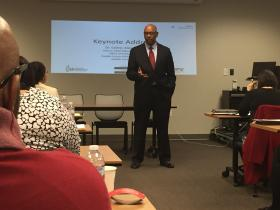 Dr. Cedric Alexander, deputy chief operating officer of the Office of Public Safety in DeKalb County, Ga., at the Minority Youth Violence Prevention Initiative kickoff in Atlanta.