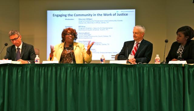 Dianne Gibson of the South Dallas Community Court speaks on a panel about engaging communities along with Bill Brice (left) of the Downtown Austin Alliance, J. McDonald Williams (right) of the Foundation for Community Empowerment, and Vana Hammond (extreme right) of the Office of the Mayor of Dallas at Reinvesting In Justice, a regional summit held in Dallas this November.