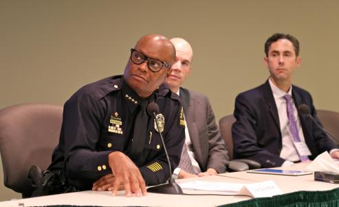 Dallas Police Chief David Brown on the relationship between the justice system and minorities with Texas Office of Court Administration's Administrative Director David Slayton and Texas Indigent Defense Commission's Deputy Director Wesley Shackleford.