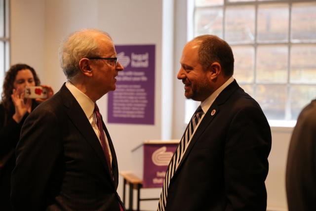 New York State Chief Judge Jonathan Lippman and City Council Member Rory Lancman at the opening of Legal Hand Jamaica, a new branch of the Center for Court Innovation's Legal Hand access-to-justice initiative, which provides community members in several New York neighborhoods with free legal information on matters including housing, immigration, employment, and public benefits.