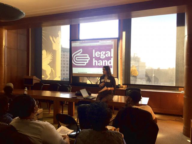 Legal Hand Crown Heights volunteer coordinator Marlies Talay leads an orientation and training for new volunteers at the Brooklyn Public Library.
