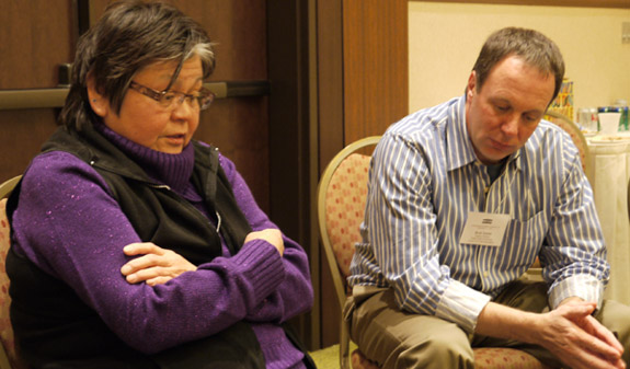 Anna Jack, peacemaker administrator with the Colville Tribes, and  Brett Taylor of the Center for Court Innovation.