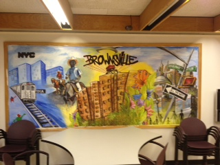 Mural in the Brownsville Community Justice Center, a new demonstration project in Brooklyn. (June 13, 2012)