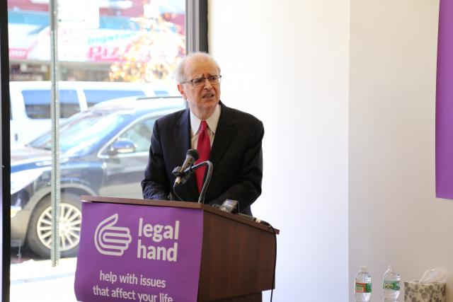 New York State Chief Judge Jonathan Lippman speaks on access to justice at the opening of Legal Hand Crown Heights, a new program that provides community members with free legal information on matters including housing, immigration, employment, and public benefits.