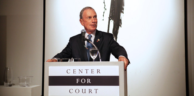 Mayor Michael Bloomberg speaks at the Center for Court Innovation's 15th anniversary benefit.