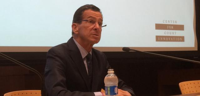 Connecticut Governor Dannel Malloy delivers the keynote address at the 'Justice Innovation in Times of Change' summit on September 30, 2016. The conference was hosted by the Center for Court Innovation, in partnership with the U.S. Department of Justice's Bureau of Justice Assistance and the Quinnipiac University School of Law. Topics covered included race and procedural justice, innovations in police- and prosecutor-led diversion, and alternative sentencing.