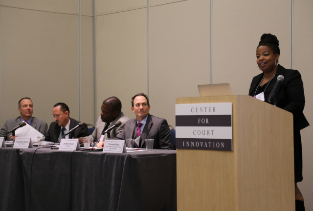 "Tomiquia Moss, chief of staff to the Mayor of Oakland, discusses community engagement at the ""Courts, Community Engagement, and Innovative Practices in a Changing Landscape"" symposium in Anaheim."