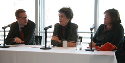 From the archives: Former New York State Chief Judge Judith Kaye, center, in conversation with Greg Berman and Louise Casey at a community justice panel convened by the New York Times and the Center for Court Innovation in 2008. Judge Kaye, who was New York's first female chief judge, passed away today. (January 7, 2016)