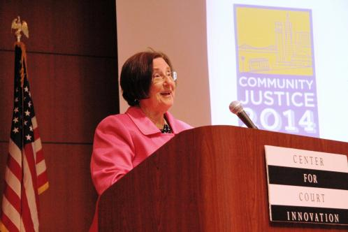 Denise O'Donnell, director of the Bureau of Justice Assistance, delivers the keynote address at the opening         of Community Justice 2014.
