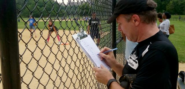 Brett Taylor, director of operations for our  Tribal Justice Exchange program and coach of our staff softball team, Siegel's Sluggers, updates his lineup card in the midst of another victory for the Sluggers in Central Park last week. The team is named in honor of Alfred Siegel, the Center's former deputy director, and his lifetime of contributions to reforming the criminal justice system in New York City. Siegel  passed away in 2014. In partnership with John Jay College of Criminal Justice, the Center has established  a scholarship in Siegel's name, with a particular focus on students with previous involvement in the justice and/or child-welfare systems. See  here for a brief video introduction to the scholarship, and  here to donate to the fund.