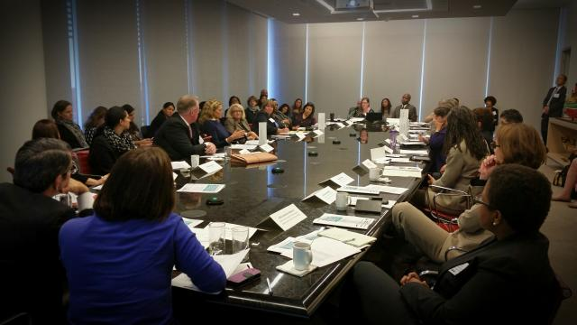 "In New York City, commissioners and other officials from city and state social service and justice agencies and nonprofit leaders gather for a roundtable during the ""Domestic Violence Intervention: Creating NYC's Blueprint for Working with Abusive Partners"" conference."